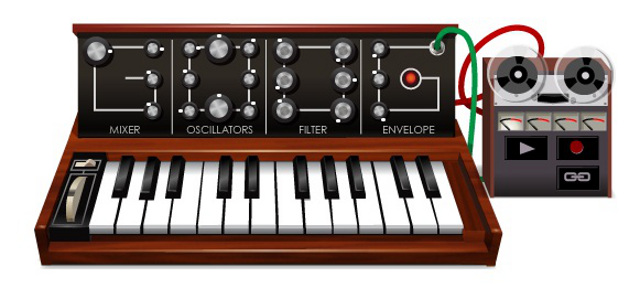 Moog music from the Robert Moog 78th Birthday doodle