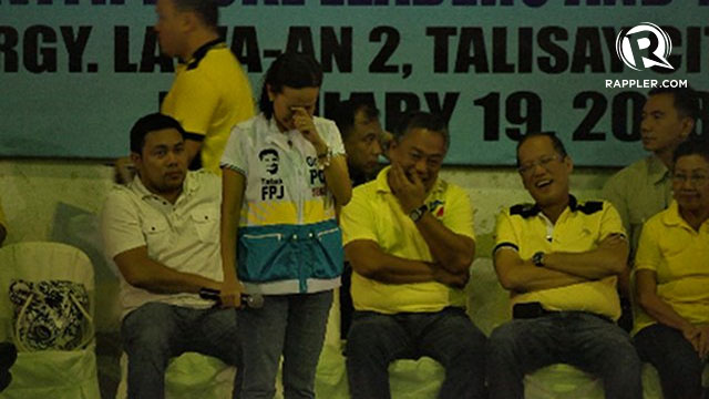 TEARFUL. Grace Poe was moved to tears when she recalled how her father, the late actor Fernando Poe Jr, lost by a very big margin in Cebu during the 2004 elections.