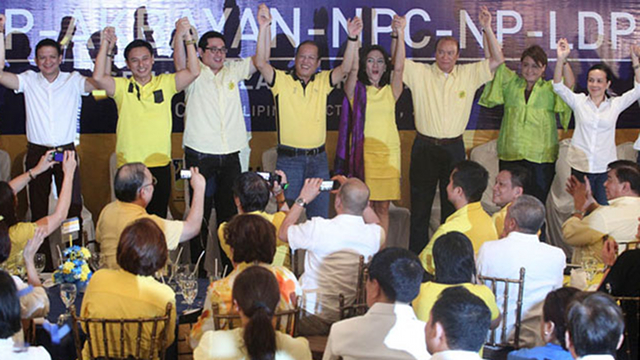 LP BET. Grace Poe-Llamanzares joins the Liberal Party proclamation in October where the President officially endorsed her as one of his senatorial bets. File photo by Malacaang Photo Bureau