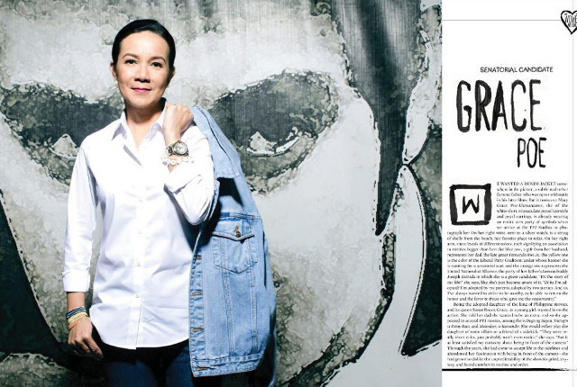 'WOMAN WE LOVE.' Grace Poe in the February 2013 issue of Esquire Magazine Philippines. Image from the Grace Poe Facebook page