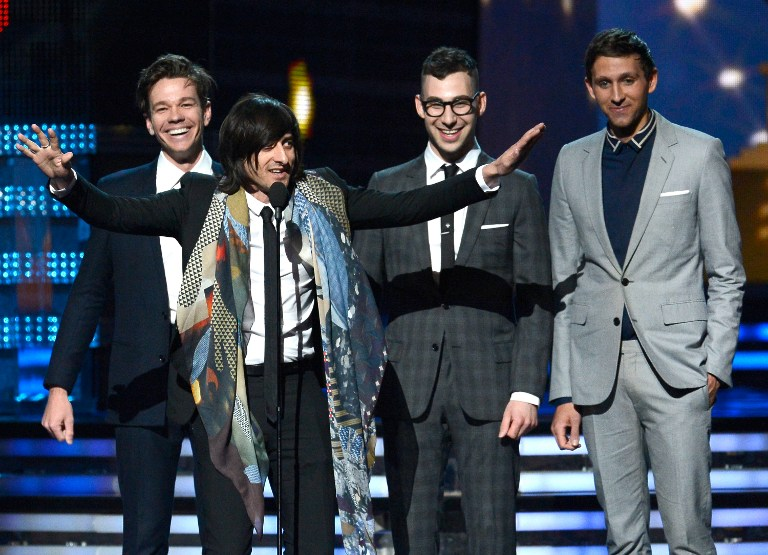 Producer Jeff Bhasker (2nd L, speaking) with musicians (L-R) Nate Ruess, Jack Antonoff and Andrew Dost of fun. accept Song of the Year award for &quot;We Are Young&quot; onstage at the 55th Annual GRAMMY Awards at Staples Center on February 10, 2013 in Los Angeles, California. Kevork Djansezian/Getty Images/AFP