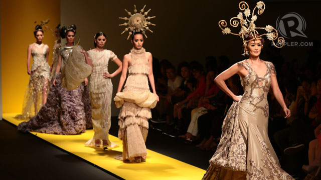 GRAND, ALLURING 'ART.' Randall Solomon's models with artsy headpieces led by veteran model Marina Benipayo. All photos by Edric Chen