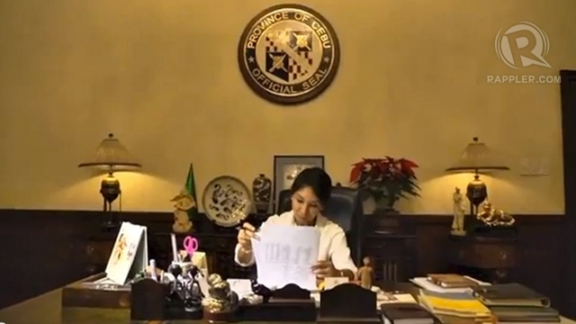'RULE OF LAW.' Embattled Cebu Governor Gwen Garcia cites the rule of law in defying her suspension order but her critics say that's exactly what she is violating in refusing to stand down.