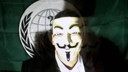 A SCREEN GRAB FROM an interview with a member of the hackers group, Anonymous, posted on YouTube (youcefdar) 