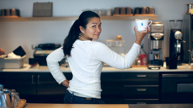 HAND DRIP ADVOCATE. Selina Viguera holds up a ceramic coffee dripper used in the hand drip method of coffee-brewing