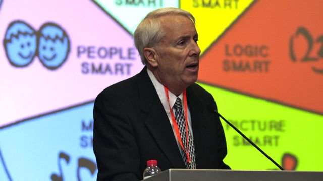 DR. THOMAS ARMSTRONG SPEAKING at the Super Kids 2012 conference. Photo courtesy of Carl Cuevas