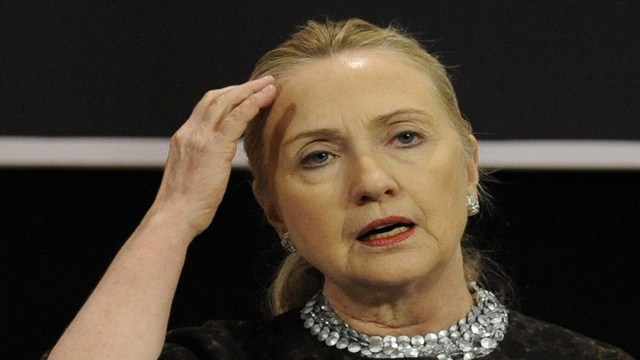 HILLARY CLINTON. Bothered by a stomach virus, she is dehydrated, faints and sustains a concussion. AFP file photo