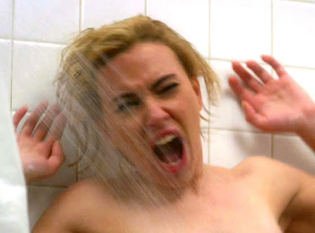 INFAMOUS SCENE. ScarJo and the infamous shower scene in 'Psycho'