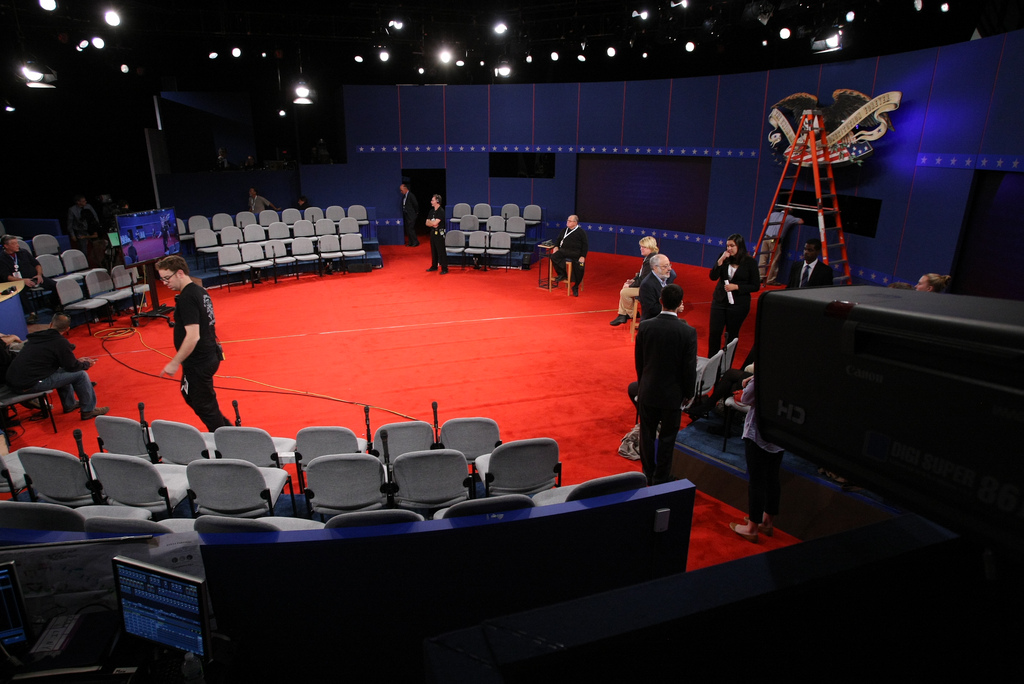 Final preparations are being made for the stage of the second US Presidential Debate at Hofstra University in New York state, October 15, 2012. Photo courtesy of Hofstra University.