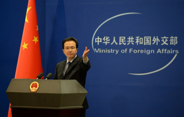 CITING INT'L LAW. Chinese Foreign Ministry spokesman Hong Lei says the Philippines' case is baseless. File photo by AFP