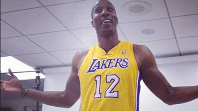 HOWARD IN GOLD. Dwight Howard in his Lakers uniform when he was first traded to the team. Courtesy of the Lakers' official Twitter account.