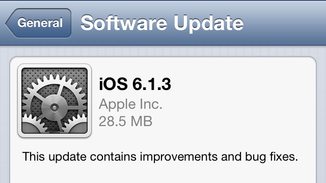 IOS 6.1.3. Apple's new software update addresses a security issue in iOS.