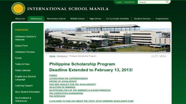 Screen shot from International School Manila's website.