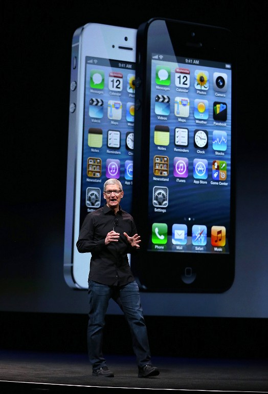 Apple CEO Tim Cook speaks during an Apple special event announcing the iPhone 5. Justin Sullivan/Getty Images/AFP