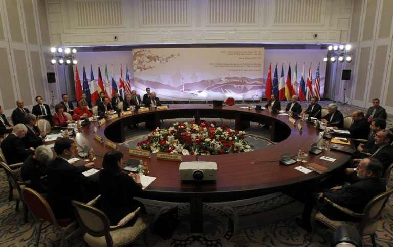 NUCLEAR TALKS. Top officials from the United States, France, Germany, Britain, China, Russia and Iran take part in talks on Iran's nuclear program in the Kazakh city of Almaty on February 27, 2013. AFP PHOTO / POOL / SHAMIL ZHUMATOV