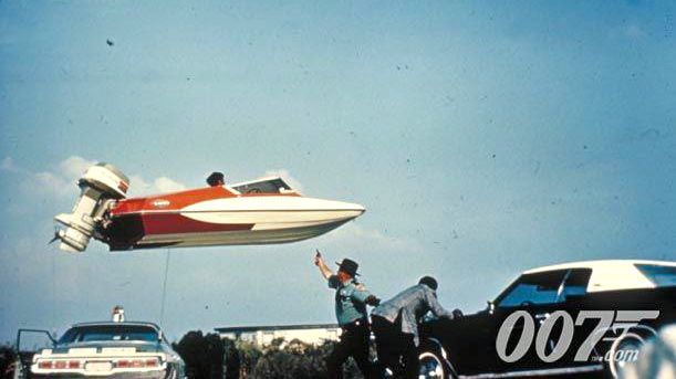 LIVE AND LET DIE. A 'flying' speedboat in the 1973 Bond film. Image from the James Bond 007 Facebook page