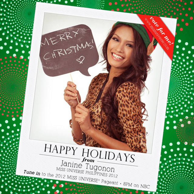 VOTE FOR ME! Miss Philippines Janine Tugonon is wishing us Merry Christmas and asking for our support. Photo from The Official Miss Universe Facebook page courtesy of the Miss Universe Organization LP, LLLP
