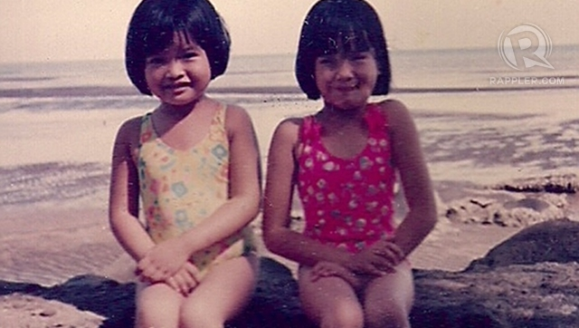 WHO'S THAT BABE? Janine Tugonon (left) with older sister Jessica sitting like prim and proper beauty queens on the beach. All photos courtesy of Tess Tugonon released exclusively to Rappler