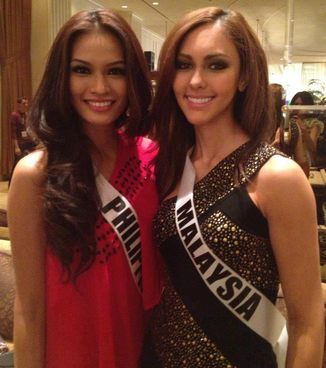 FRIENDLY COMPETITION. Miss Philippines Janine Tugonon with Miss Malaysia Kimberley Leggett. Photo posted on the Janine Mari Raymundo Tugonon Facebook page