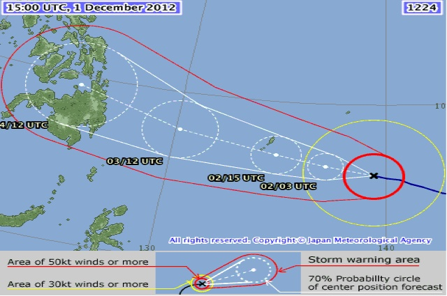 PABLO'S TRACK. Image from the Japan Meteorological Agency