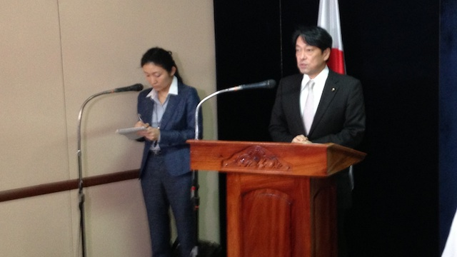 ALLIES: Japanese defense Minister Itsunori Onodera returns to the Philippines to discuss regional security and Japan's assistance to Yolanda victims. Photo by Carmela Fonbuena/Rappler.com