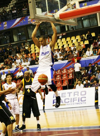 Japeth Aguilar throws down a two-handed jam during the 2011 FIBA Asia Champions Cup. Photo from the Smart Gilas Facebook page