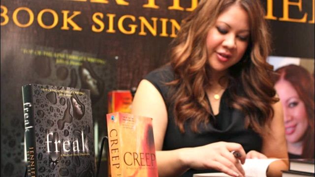 JENNIFER HILLIER AT A book-signing for 'Creep' and 'Freak.' Image from her Facebook page