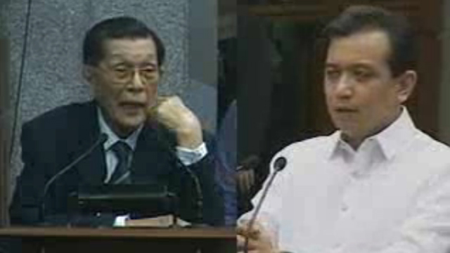 'LACKEY' VS 'NOVATO.' Enrile and Trillanes trade barbs over Camarines Sur and China. Screenshot from Senate livestream
