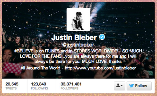 Screen shot from the Justin Bieber Twitter page