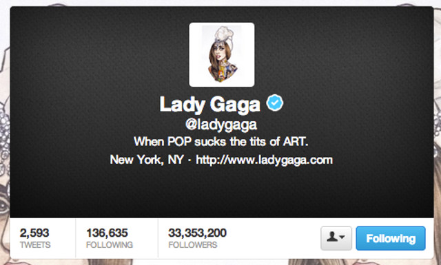 Screen shot from the Lady Gaga Twitter page