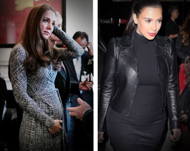 'BATTLE' OF THE MOMS-TO-BE. Kate Middleton and Kim Kardashian are both expecting in July. Photos from the Kate Middleton Facebook page and Kim Kardashian Facebook page