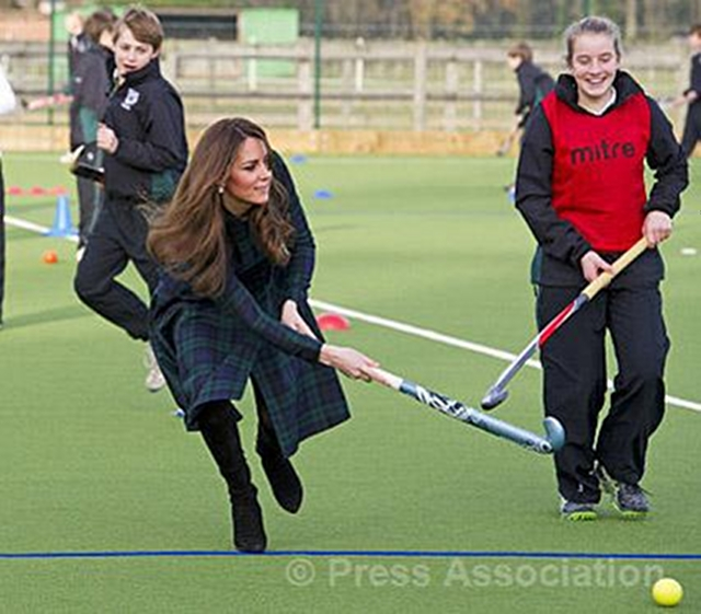 LAST APPEARANCE. The Duchess of Cambridge tries out the new astroturf playing field at St Andrew's School in Pangbourne, 30 November 2012. Photo from the British Monarchy's Flickr page
