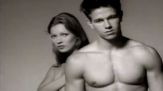 ON THE BRINK. Kate Moss in a 1992 video of the Calvin Klein campaign with Mark Wahlberg. Screen grab from YouTube (KraftWorksNYC)