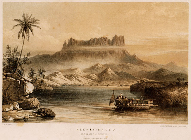 Oosokan Bay Borneo as depicted in this illustration from F. Marryat's Borneo and the East Indian Archipelago (1848)