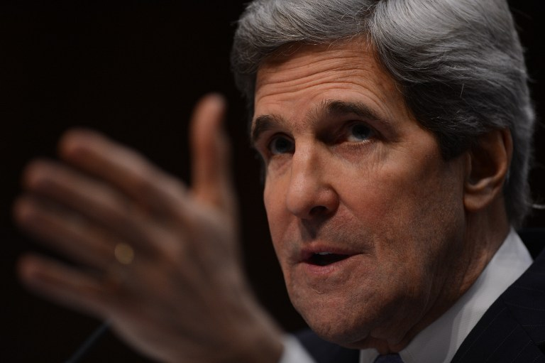 AMERICA'S NEXT TOP DIPLOMAT. US Senator John Kerry, D-MA, US President Barack Obama's nominee for Secretary of State, faces his colleagues as he testifies before the Senate Foreign Relations committee during his confirmation hearing on Capitol Hill in Washington, DC, on January 24, 2013. AFP PHOTO / Saul LOEB