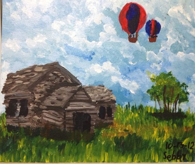 LOG CABIN WITH HOT AIR BALLOONS by Sebby