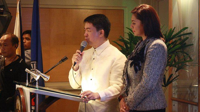 'NOT A WIFE BEATER.' Pimentel's estranged wife, Jewel May Lobaton, denies the claim of Migz Zubiri that she is a battered wife. File photo from Pimentel's Facebook page 