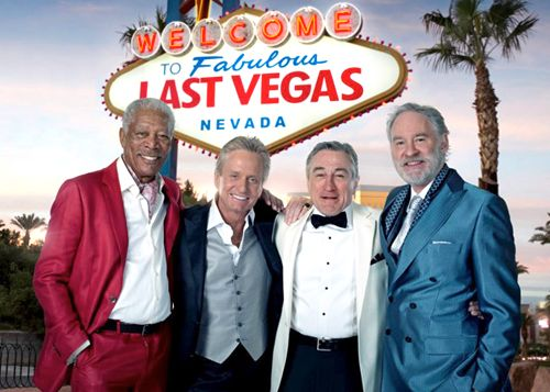 VIVA LAS VEGAS! Morgan Freeman, Michael Douglas, Robert De Niro and Kevin Kline happily working together. Image from the Geek Tyrant Facebook page