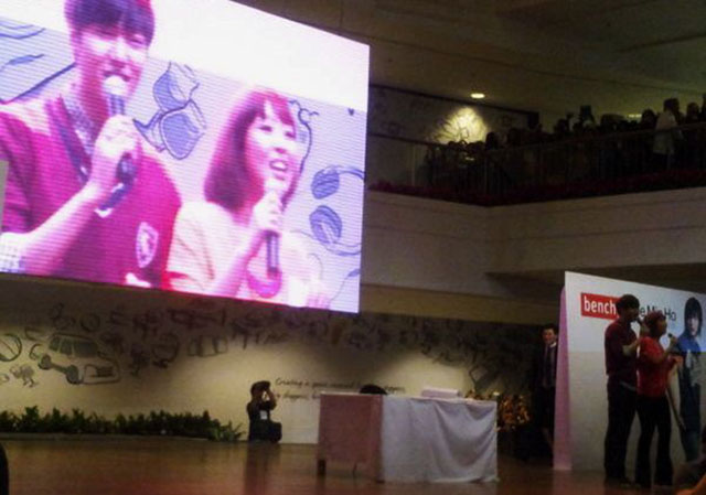 TWEETED BY @AYALAMALLS: A screen made Lee Min Ho and Sam Oh larger than life for the benefit of all the fans who came