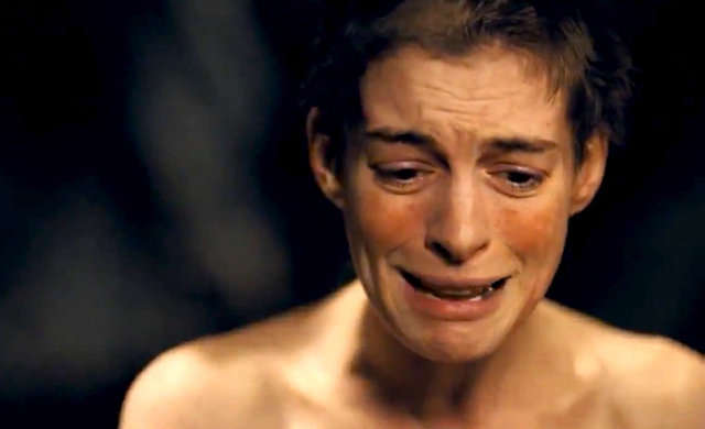 CRYING HER LUNGS OUT. Anne Hathaway gives her all while delivering 'I Dreamed a Dream'