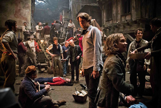 TRAILBLAZER. Director Tom Hooper on the set of 'Les Miserables.' Photo from the 'Les Miserables' Facebook page