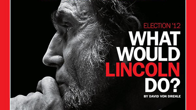 BELOVED HONEST ABE. Daniel Day-Lewis as Abraham Lincoln on the cover of a TIME Magazine issue that was released before the US Presidential Elections in 2012. Photo from the official 'Lincoln' Facebook page