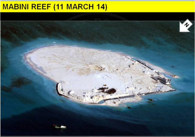 RECLAMATION AGAIN. Weeks after the Philippines protested 'excessive reclamation' on the Mabini Reef (in photo), the Southeast Asian country files another diplomatic protest against China's activities. File photo courtesy of DFA