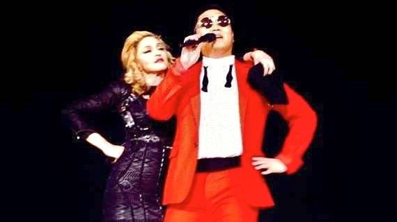 MUSIC AND PSY. Madonna and Psy shared the stage in what Psy tweeted as '#HISTORY.' Image from Facebook