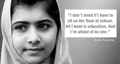 From the Facebook page of supporters of Malala Yousafzai