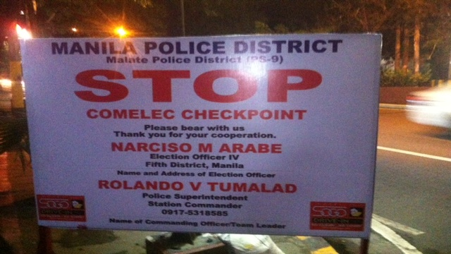 MALATE CHECKPOINT. By Sunday, January 13, Comelec checkpoints are set up for the duration of the election period. Photo by Voltaire Tupaz