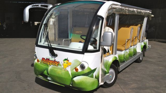 THE MANGO MOBILE. ONE of 3 carts that take visitors around Mango Museum's enormous 17-hectare factory.