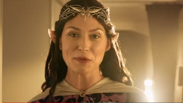 'AIRLINE OF MIDDLE EARTH' A flight attendant in Middle Earth garb speaks in a scene in Air New Zealand's latest safety instruction video. Screengrab from YouTube.
