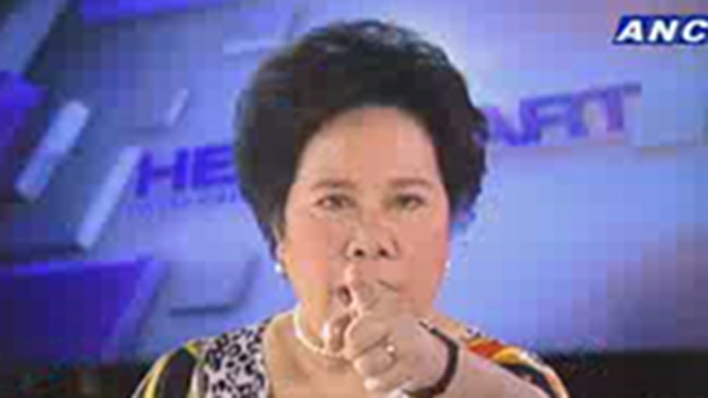 "'HOOOOOOT COPY.' Sen Miriam Defensor Santiago bursts her blood vessel in her eye after an explosive TV interview on Senate President Juan Ponce Enrile. She said, ""Hey, I address this to my political enemy: Since you are a lawyer, read the Rome Statute of the International Criminal Court."" Photo courtesy: ANC 24/7 Facebook page"
