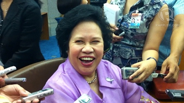 'I'M ELATED.' Sen Miriam Defensor Santiago jokes about her verbal spat with Senate President Juan Ponce Enrile. Photo by Ayee Macaraig